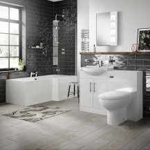 Windsor 55 Combination Unit & Santorini Back to Wall Toilet with Right Hand L-Shape Bath