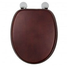 Flexi Fix Davos Mahogany Effect Solid Pine Toilet Seat