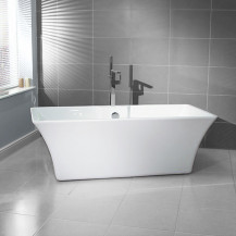 Seattle 1690 x 740 Luxury Freestanding Bath with Cube Freestanding Bath Shower Mixer