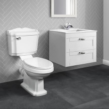 Nottingham White 600 Two Drawer Wall Hung Vanity Unit with Victoriana Toilet