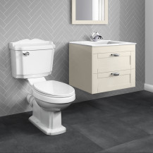 Nottingham Ivory 600 Two Drawer Wall Hung Vanity Unit with Victoriana Toilet