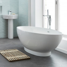 1680 x 800mm Oval Double Ended Freestanding Bath with Sol Freestanding Bath Shower Mixer