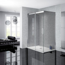 Neptune 900 x 1200 Smoked Glass Sliding Door Left Hand Shower Enclosure and Ultra Slim Silhouette Shower Tray and Waste