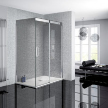 Neptune 900 x 1200 Smoked Glass Sliding Door Right Hand Shower Enclosure and Ultra Slim Silhouette Shower Tray and Waste
