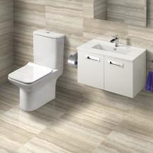 Aspen Compact 600 2 Door Wall Hung Vanity Unit with Milan Toilet & Seat