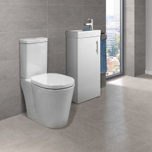Ashford Cloakroom 400 White Vanity Unit with Ravenna Short Projection Toilet & Seat