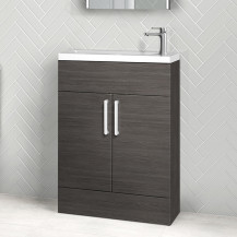 Austin 600mm Grey Avola Freestanding Slimline Two Door Vanity Unit with Una tap