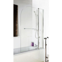Curved Top Hinged 1435 x 1005 Double Bath Screen with Towel Rail 6mm