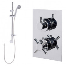 Eco Slide Shower Rail Kit with Style Dual Valve & Wall Outlet