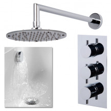 S9 Triple Valve with Rotondo Shower Head, Wall Arm, Filler & Overflow