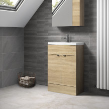 Austin 600mm Natural Oak Freestanding Two Door Vanity Unit