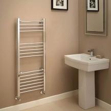 Eco Heat 1200 x 500mm Straight Chrome Heated Towel Rail
