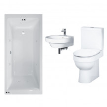 Carona 1700 Whirlpool Bath with Hallmoor Two Piece Suite inc Taps & Waste