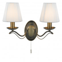 Andretti Antique Brass Duo Wall Light With Cream String Shades