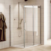 Aquafloe™ Elite ll 8mm 1200 x 800 Easy Clean Frameless Sliding Enclosure with Shower Tray