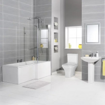 Tabor 1700 Shower Bath Bathroom Suite Including Taps and Waste