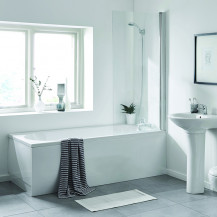 Alton 1700 x 700 Single Ended Round Bath and Fixed Screen