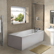 Rutland 1700 x 700 Single Ended Square Bath and Fixed Screen