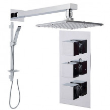 Quadro Slide Shower Rail Kit with Cube Triple Valve, 175mm Square Head & Wall Arm
