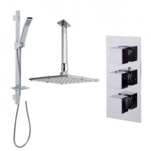 Quadro Slide Shower Rail Kit with Cube Triple Valve, 175mm Square Head & Ceiling Arm