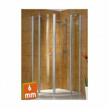 Exklusiv Satin Chrome Sliding Door Quadrant Shower Enclosure