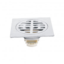 Square with Round Detail Brushed Steel Floor Drain