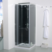 800 x 800 Quatro Shower Cabin with Black Back Panels