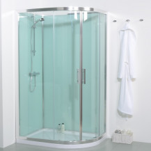 6mm 1200 Offset Left Hand Quadrant Shower Cabin with Aqua White Back Panels