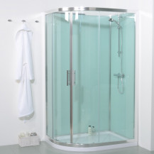 6mm 1200 Offset Right Hand Quadrant Shower Cabin with Aqua White Back Panels