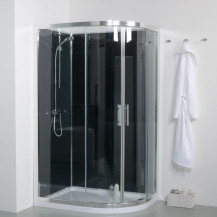 6mm 1200 Offset Left Hand Quadrant Shower Cabin with Black Back Panels