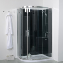6mm 1200 Offset Right Hand Quadrant Shower Cabin with Black Back Panels