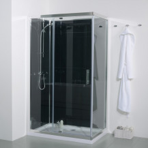 1200 x 800 Quatro Shower Cabin with Black Back Panels