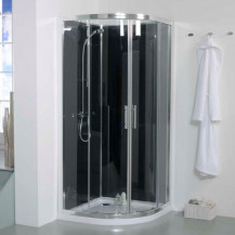 900 Quadrant Shower Cabin with Black Back Panels