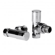 Angled Chrome Radiator Valves with Lockshield