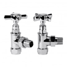Traditional Crosshead Angled Chrome Radiator Valves