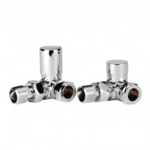 Corner Chrome Radiator Valves with Lockshield