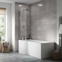 P Shaped Bath 1500 Left Hand with Front Panel and Hinged Screen