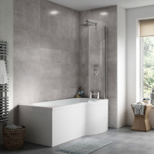 P Shaped Bath 1500 Right Hand with Front Panel and Hinged Screen