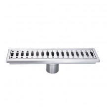 Brushed Steel Floor Drain 298x76