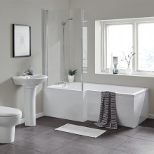 L Shaped 1500 Left Hand Bath with Legset and Hinged Screen