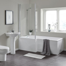 L Shaped 1600 Left Hand Bath with Legset and Hinged Screen