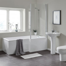 L Shaped 1600 Right Hand Bath with Legset and Hinged Screen