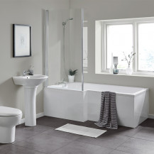 L Shaped 1700 Left Hand Bath with Legset and Hinged Screen