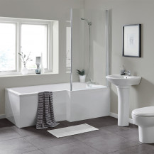 L Shaped 1700 Right Hand Bath with Legset and Hinged Screen