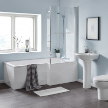 L Shaped 1500 Right Hand Bath with Legset and Hinged Screen with Towel Rail