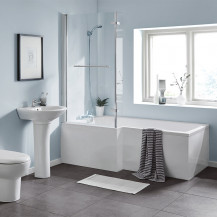 L Shaped 1600 Left Hand Bath with Legset and Hinged Screen with Towel Rail