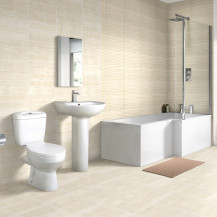 Right Hand 1700 L Shape Shower Bath with Sydney Suite