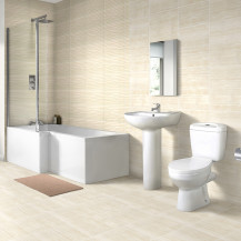 Left Hand 1700 L Shape Shower Bath with Sydney Suite with Taps and Wastes