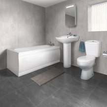 1700 Sydney Straight Bath Suite with Taps and Wastes