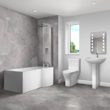Portland 1700 P Shape Shower Bath Suite - Left Hand Side with panel